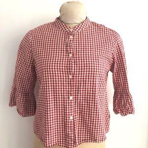 Madewell Gingham Cropped Button Down